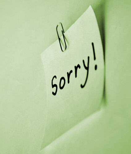 Post-It note: sorry